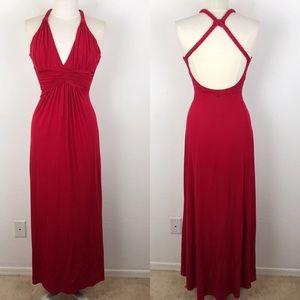 Sky Red Halter Braided Open Back Maxi Dress Medium